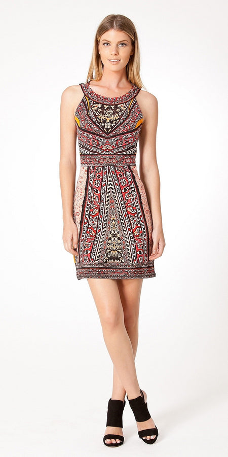 Multi Printed Fitted Neoprene Dress