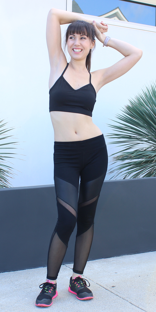 Black Cut Out Mesh Leggings