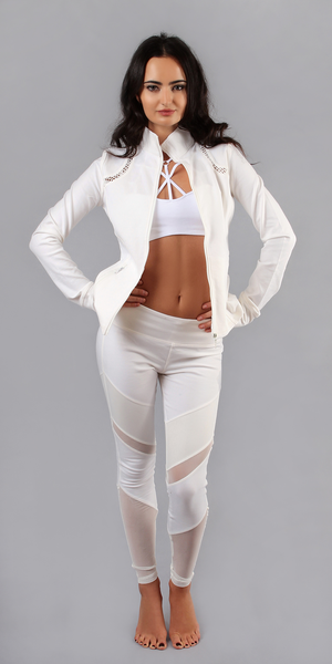 White Cut Out Mesh Leggings