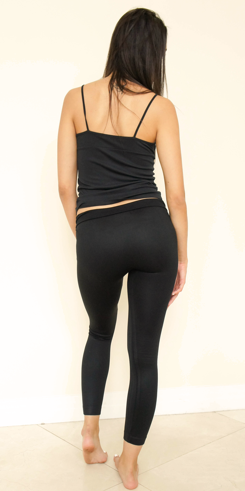 Rose Gold Bolt Foiled Black Leggings