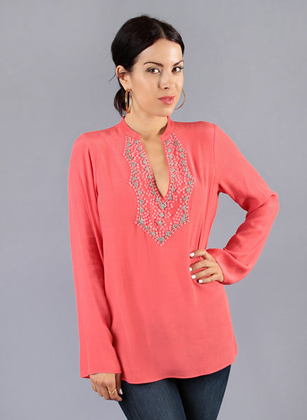 Long Sleeve Pink Beaded Crepe Blouse