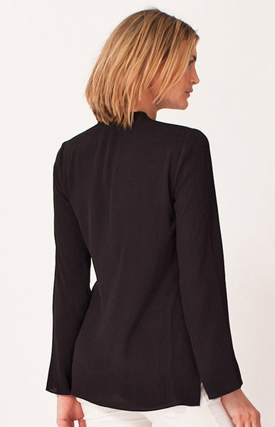 Long Sleeve Black Beaded Crepe Blouse