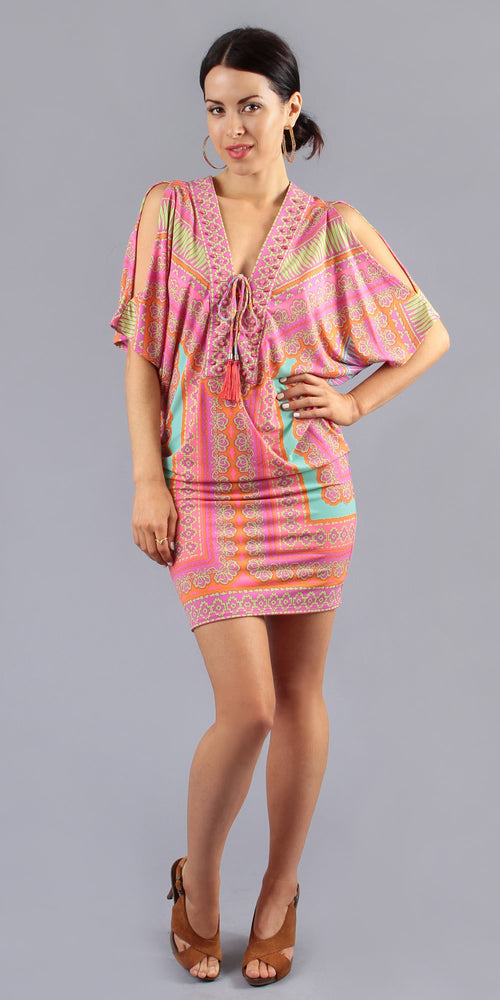Short Sleeve Coral Printed Tunic Dress