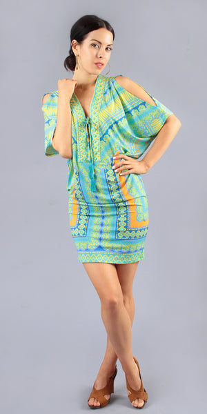 Short Sleeve Turquoise Printed Tunic Dress