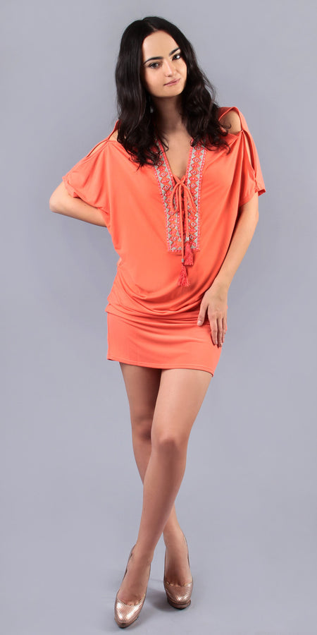 Coral Printed Jersey Tunic Dress