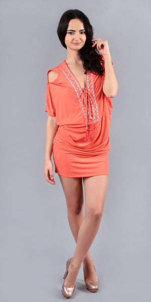 Short Sleeve Coral Jersey Tunic Dress