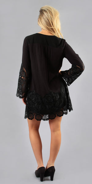 Long Sleeve Black Lace Tunic Dress