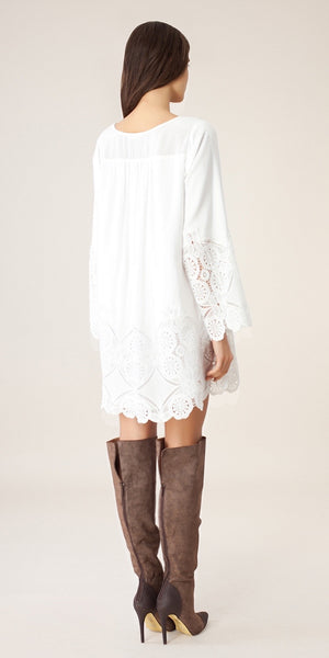 Long Sleeve White Lace Tunic Dress