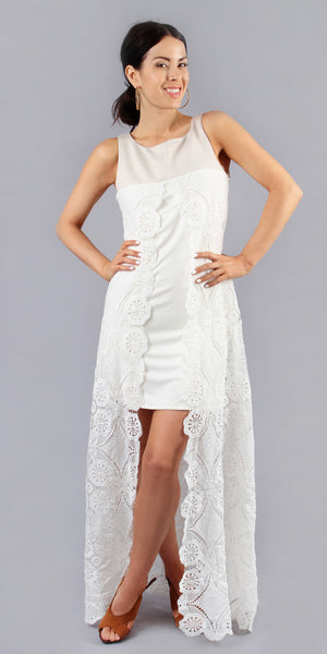 Sleeveless White Split Lace Dress