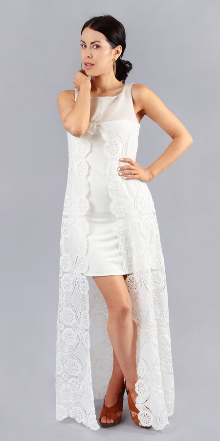 Ivory White Crepe Crochet Tunic Dress