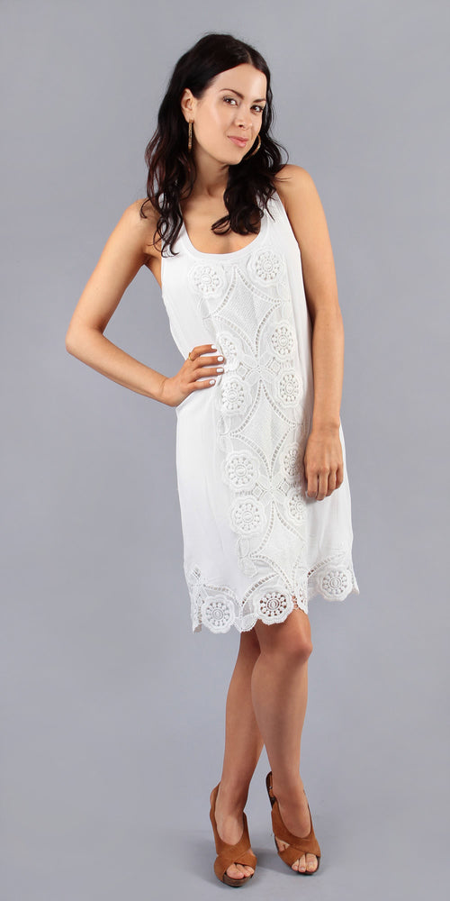 Sleeveless White Lace Crochet Dress