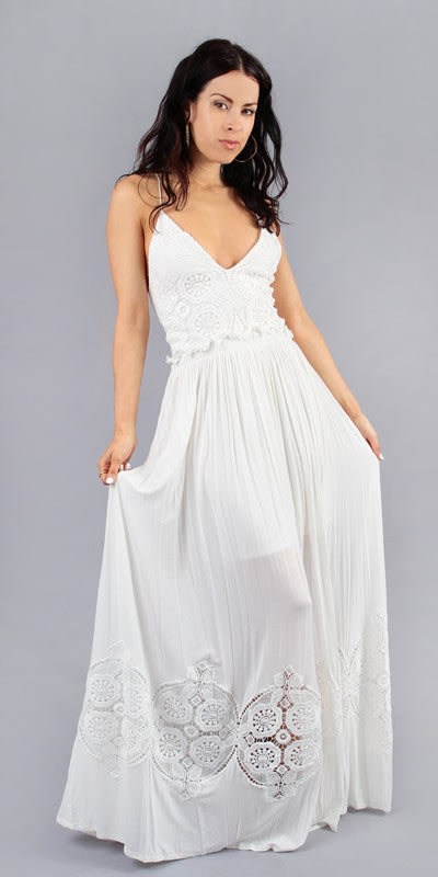 Sleeveless White Lace Crochet Maxi Dress