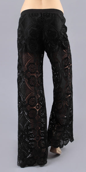 Half Lined Black Lace Palazzo Pants