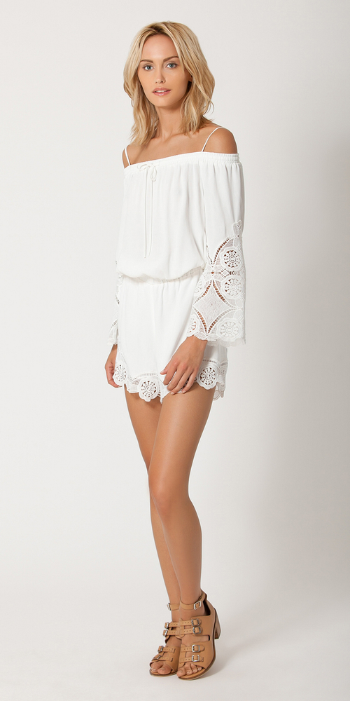 White Off The Shoulder Lace Crochet Romper Shorts