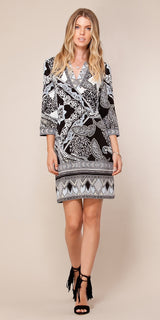 Long Sleeve Black & Blue Printed Shift Dress