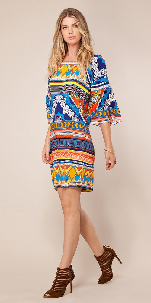 Short Sleeve Mixed Print Shift Dress