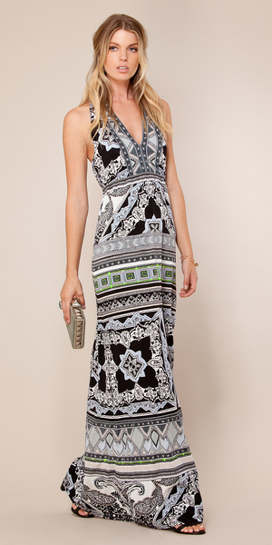 Blue Printed Jersey Halter Maxi Dress