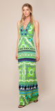 Green Printed Jersey Halter Maxi Dress