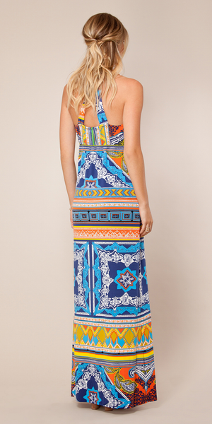 Orange Printed Jersey Halter Maxi Dress