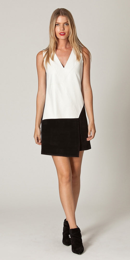 Sleeveless Black And White Patchwork Shift Dress