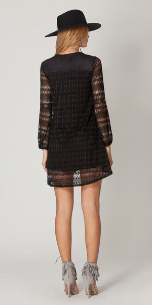 Black Long Sleeve Lace Tunic Dress