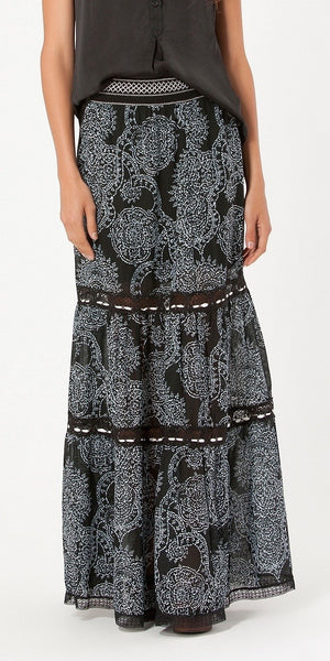 Black Lace Printed Chiffon Maxi Skirt