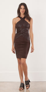 Sleeveless Brown Fitted Suede Dress