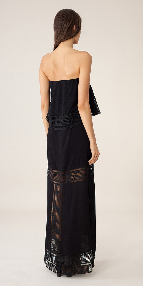 Black Strapless Crinkle Gauze Maxi Dress