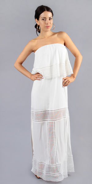 Strapless Ivory White Gauze Maxi Dress