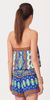 Blue Printed Crepe Strapless Romper