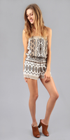 Ivory Printed Crepe Strapless Romper