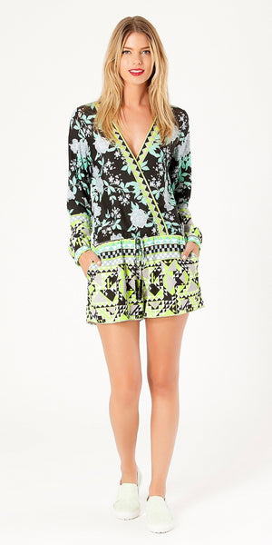 Black Long Sleeve Floral Printed Romper Shorts