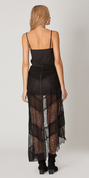 Black Suede Mini Skirt With Lace Overlay