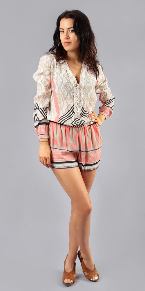 Long Sleeve Coral Printed Crepe Romper Shorts