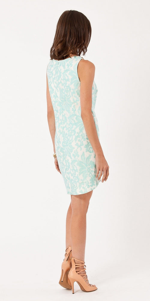 Sleeveless Blue Floral Embroidered Shift Dress