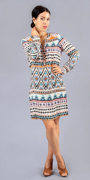 Long Sleeve Printed Knit Shirt Dress