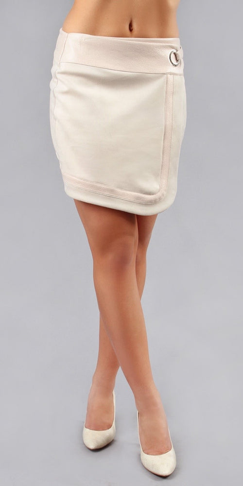 Ivory Suede Mini Skirt