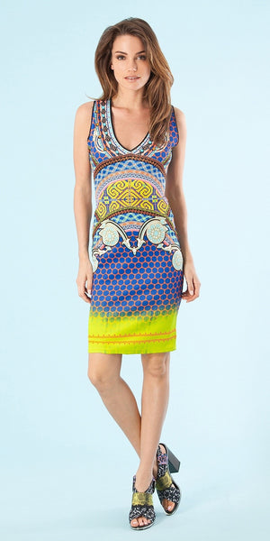 Sleeveless Multi Printed Fitted Dress