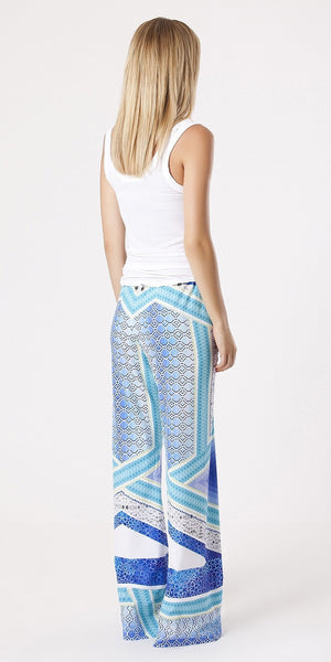 Blue Printed Crepe Wide Leg Pants
