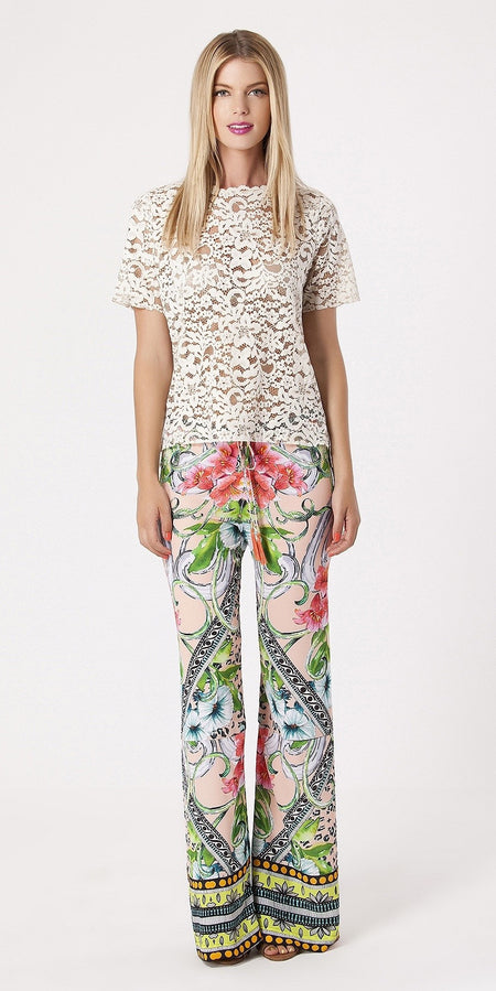 Printed Crepe Lace Crochet Pants