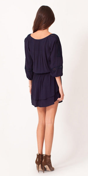 Navy Long Sleeve Crepe Shirt Dress