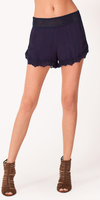 Navy Viscose Crepe Crochet Shorts