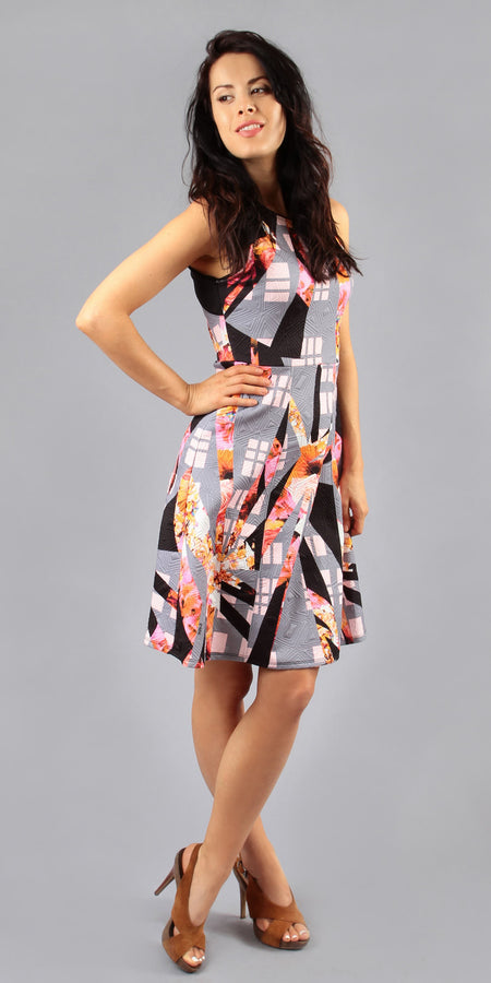 Printed Satin Flounce Sundress