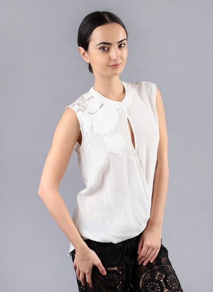 Sleeveless Ivory White Floral Blouse