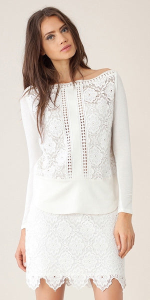 Ivory White Lace Crochet Mini Skirt
