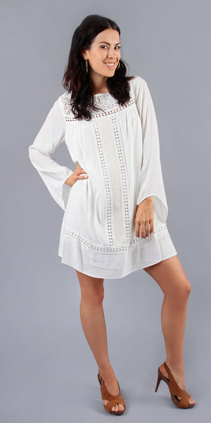 Long Sleeve White Crepe Crochet Tunic Dress
