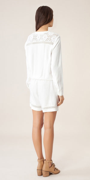 Long Sleeve White Lace Crochet Knit Romper Shorts
