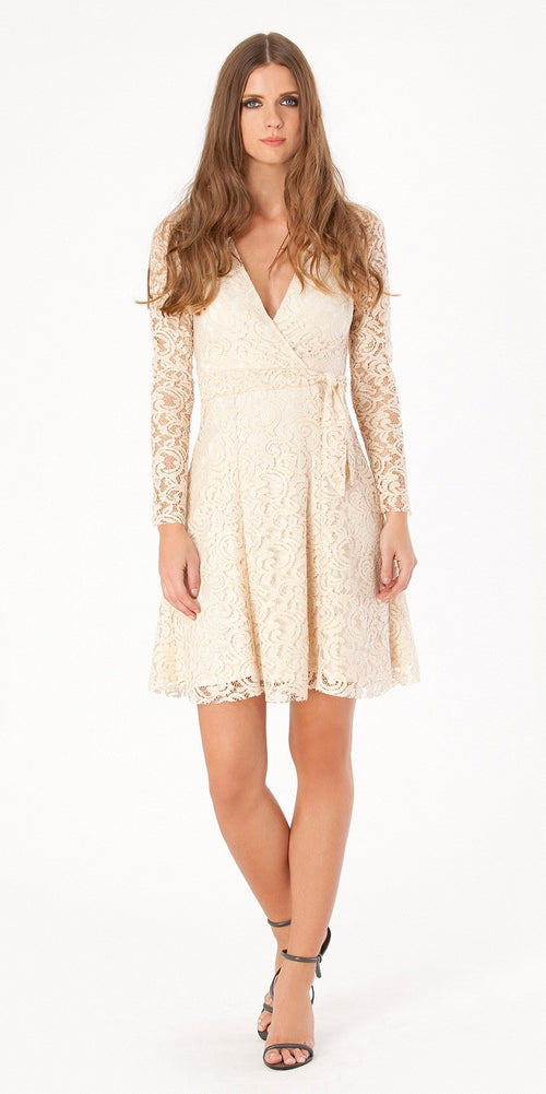 Long Sleeve Ivory Wrapped Lace Dress
