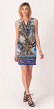 Blue Sleeveless Tropical Floral Dress