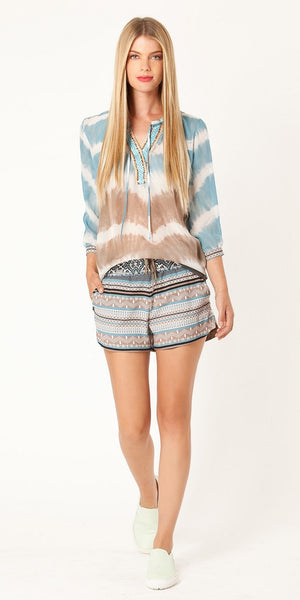 Taupe & Blue Printed Crepe Shorts